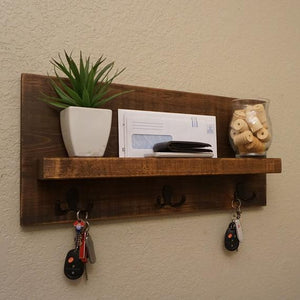 Simply Modern Rustic Entryway Shelf with Matte Black Key Hooks by KeoDecor