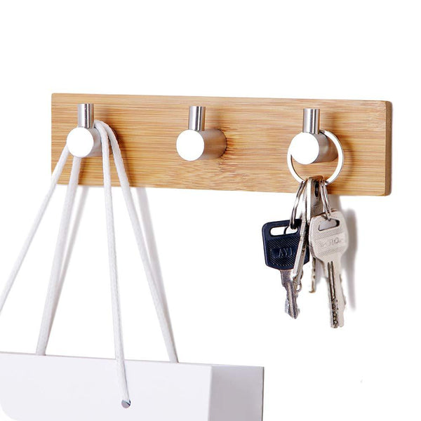 Self-Adhesive Key Holder for Wall, Small Wall Hook Rack Stainless Steel for Kitchen Bathroom Cabinet, Modern Decorative Natural Bamboo Key Rack Holder Organizer for Towel Robe
