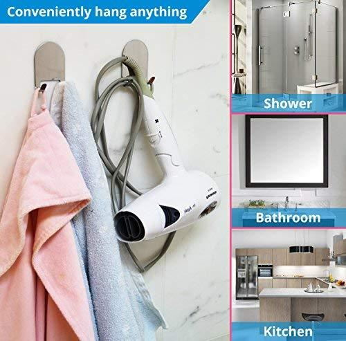 3M Adhesive All-Purpose Hooks by HOME SO - Heavy Duty Hook Hanger Sticks Anywhere - Holds Anything, Towels, Keys, Coats, Loofahs, Wreath, Jacket, Hat, Clothing - Pack of 4 (Stainless Steel Chrome)