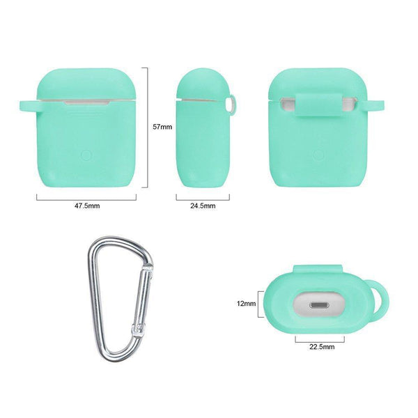 Latest airpods accessories set filoto airpods waterproof silicone case cover with keychain strap earhooks accessories storage travel box for apple airpod mint green