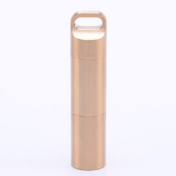 Discover weimian pill fob 2 compartments solid brass metal outdoor travel small waterproof container organizer dry storage bottle keychain holder hiking camping edc case