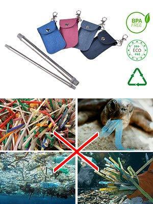 Select nice savorliving reusable stainless steel straws portable 8 3inch drinking straws collaspible straws with keychain pouch and cleaning brush blue large