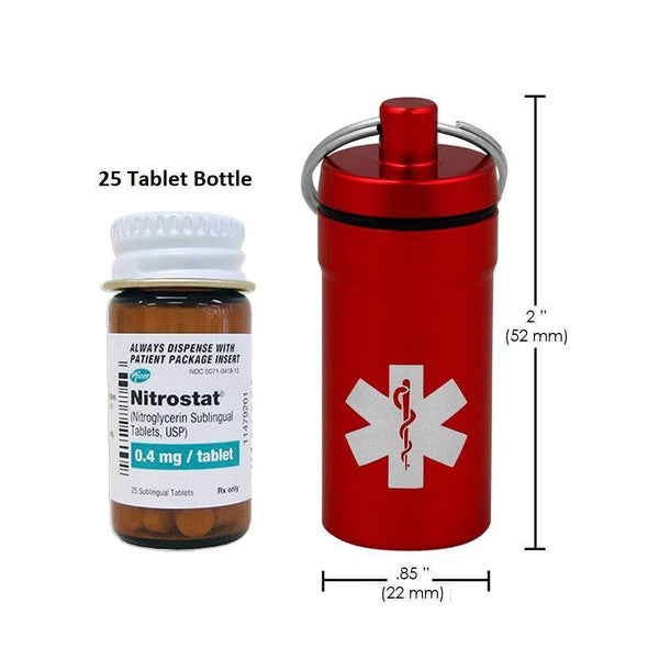 Best seller  3 mini stash jars airtight waterproof smell proof container pill holder with medical emblem secures nitroglycerin nitro bottle aspirin ibuprofen medications herbs food plus edc keychain fob