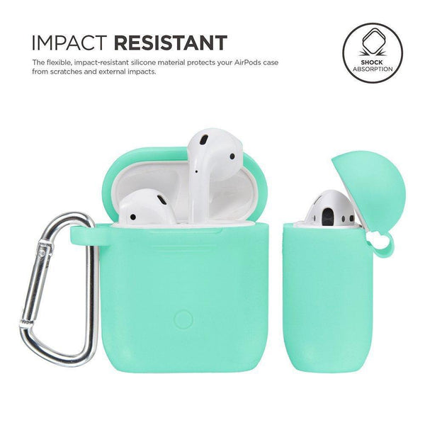 On amazon airpods accessories set filoto airpods waterproof silicone case cover with keychain strap earhooks accessories storage travel box for apple airpod mint green