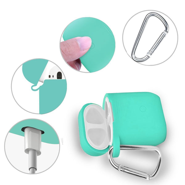 Online shopping airpods accessories set filoto airpods waterproof silicone case cover with keychain strap earhooks accessories storage travel box for apple airpod mint green