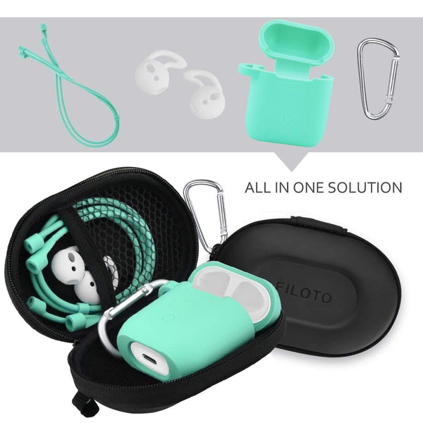 Kitchen airpods accessories set filoto airpods waterproof silicone case cover with keychain strap earhooks accessories storage travel box for apple airpod mint green