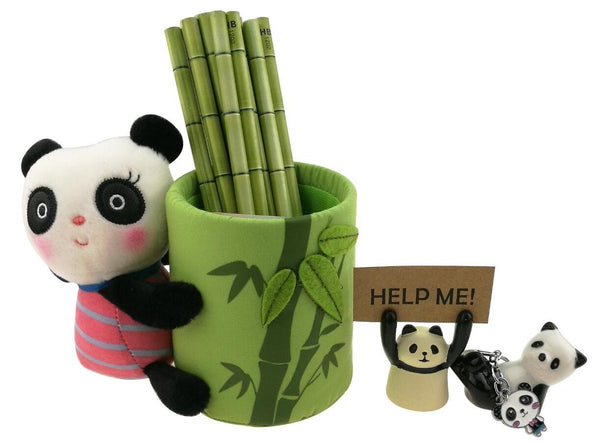 New cute black and white panda theme stationery set include 12 hb bamboo pencils 1 pencil holder 1 memo holder organizer 1 ceramic panda toy 1 keychain for kids school study gift