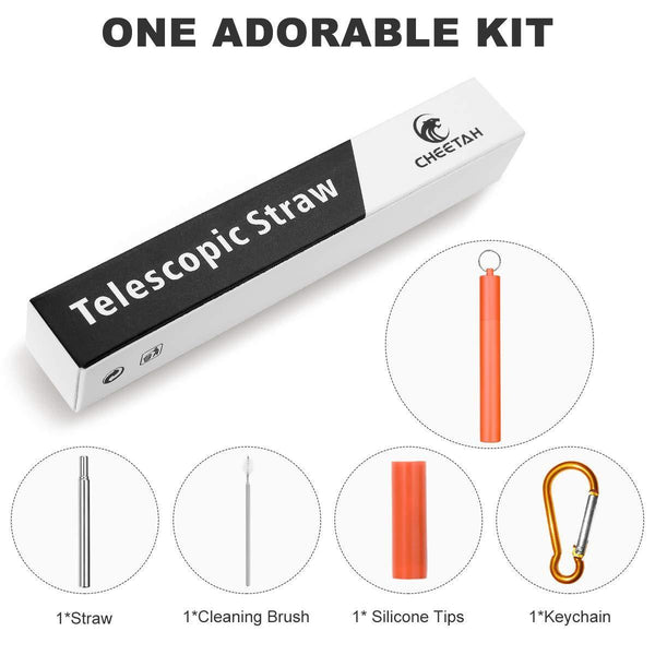 Great reusable collapsible straw folding telescopic stainless steel metal drinking straws portable kit with cleaning brush carrying case silicone tips keychain for home office travelred