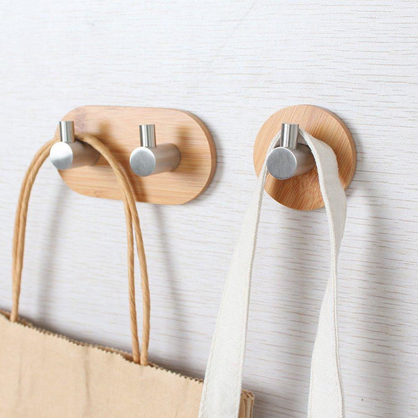 Adhesive Key Holder for Wall, Heavy Duty Wall Hooks Stainless Steel Peg Natural Bamboo Hanger for Robe Towel Bag, Modern Bathroom Kitchen Office Cabinet Door Organizer Rack, 1 Hook