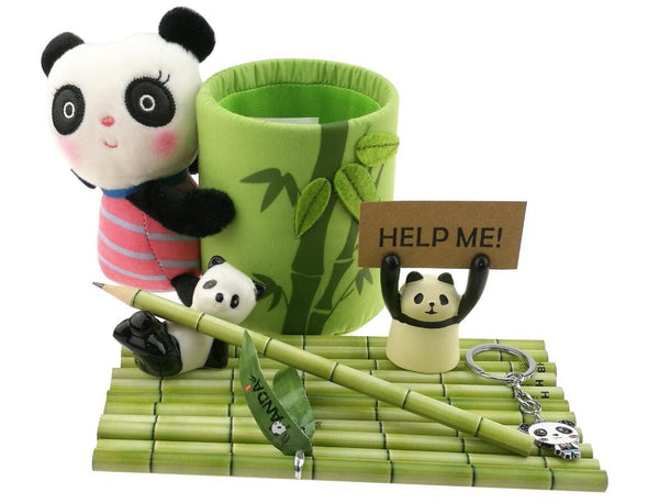 Heavy duty cute black and white panda theme stationery set include 12 hb bamboo pencils 1 pencil holder 1 memo holder organizer 1 ceramic panda toy 1 keychain for kids school study gift