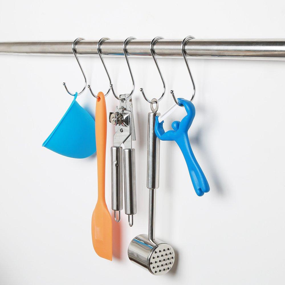 MXY S Hook S Shaped Hanging Stainless Steel Hooks Tool Pack of 5 PCS Metal Hooks Hangers For Home, Kitchen and Garage , Gardening Tools