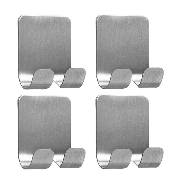 4 Pack Plug Holder Hook Razor Holder for Shower Sticking Wall Self Adhesive for Hanging Kitchen Bathroom Double Hook, Brushed Stainless Steel