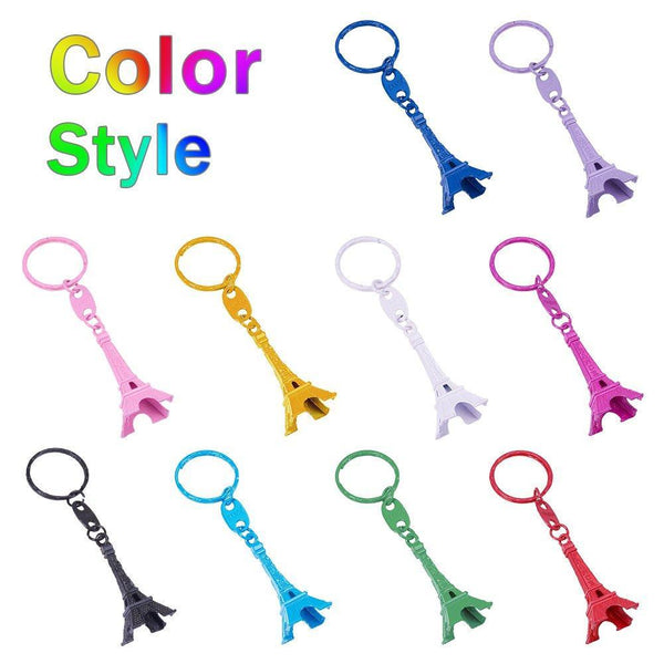 Exclusive nbeads 40 pcs mixed color retro alloy eiffel tower keychain split key ring keyring pendants accessories 49x21mm1 9x0 8