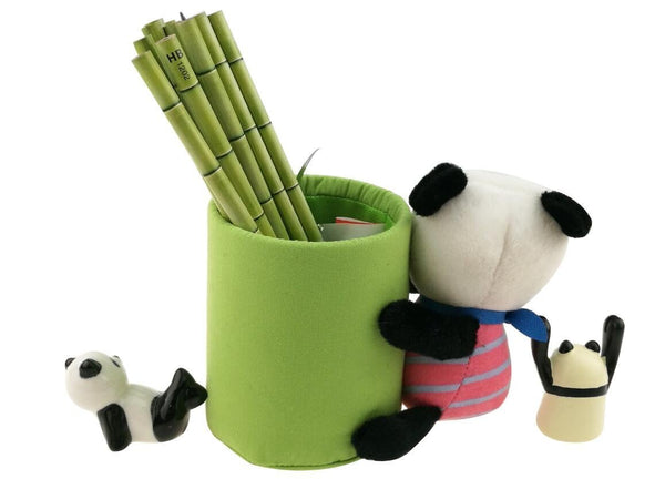 Latest cute black and white panda theme stationery set include 12 hb bamboo pencils 1 pencil holder 1 memo holder organizer 1 ceramic panda toy 1 keychain for kids school study gift