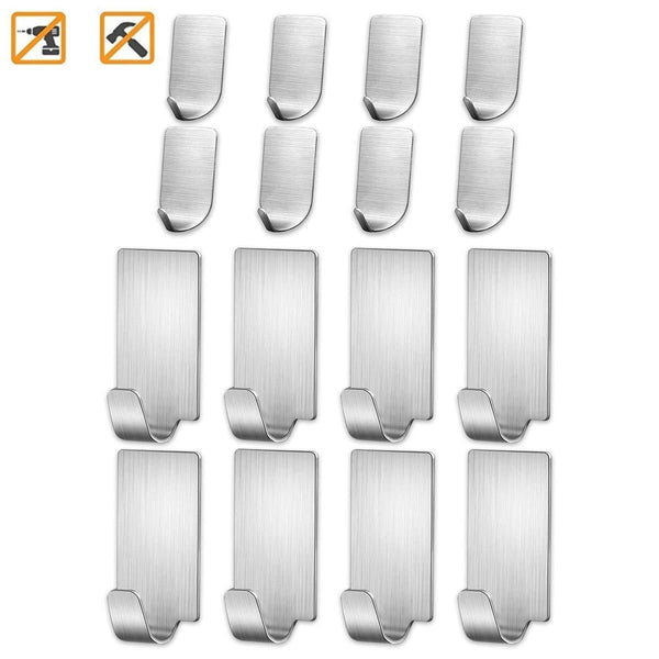 Adhesive Wall Hooks Stainless Steel Ultra Strong Waterproof Oilproof Hanging for Robe Coat Towel Robe Handbag Jackets Keys (16pcs)