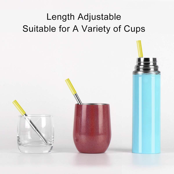 Best 2 pack longzon collapsible stainless steel metal straws with case reusable portable foldable telescopic metal drinking straws with 2 aluminum keychain 2 cleaning brushes for travel home
