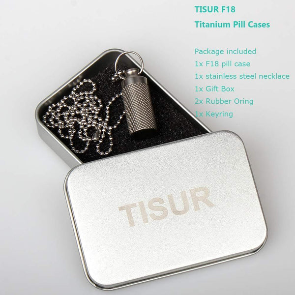 Save tisur mini pill fob titanium keychain pill holder emergency aspirin nitroglycerin pill holder for men and women waterproof light weight and non allergenic1 38 x 0 55