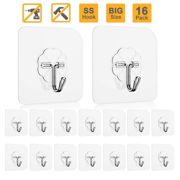 Adhesive Hooks Key Hooks Coat Hooks Heavy Duty Wall Hooks Stainless Steel Waterproof Wall Hangers for Robe, Coat, Towel, Keys, Bags, Home, Kitchen, Bathroom - 16-Pack
