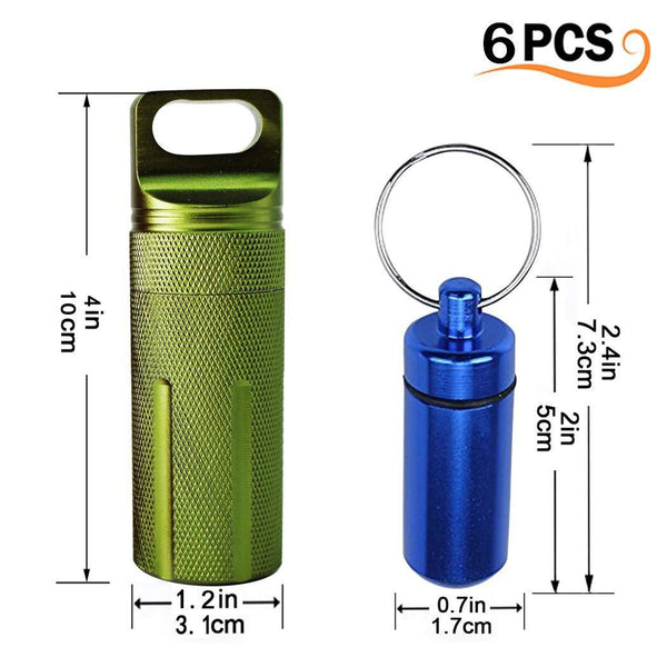 New 6pcs waterproof aluminum pill box case bottle cache drug holder keychain container colorful outdoor camping travel traveling portable pill capsule match case 3mini size 3large size random colors