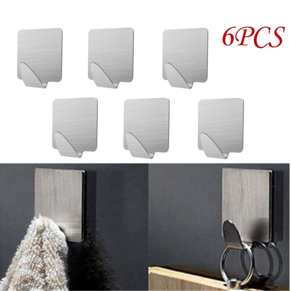 Doitb 6pcs Square Self Adhesive Mini Hook Cloth Key Hat Racket Hooks Stainless Steel Hanging Hooks for Bathroom Bedroom Office Cabinet Draw Clothes Kitchenware Hooks Hangers for Office and Kitchen