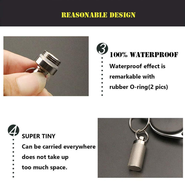 Select nice tisur mini pill fob titanium keychain pill holder emergency aspirin nitroglycerin pill holder for men and women waterproof light weight and non allergenic1 38 x 0 55