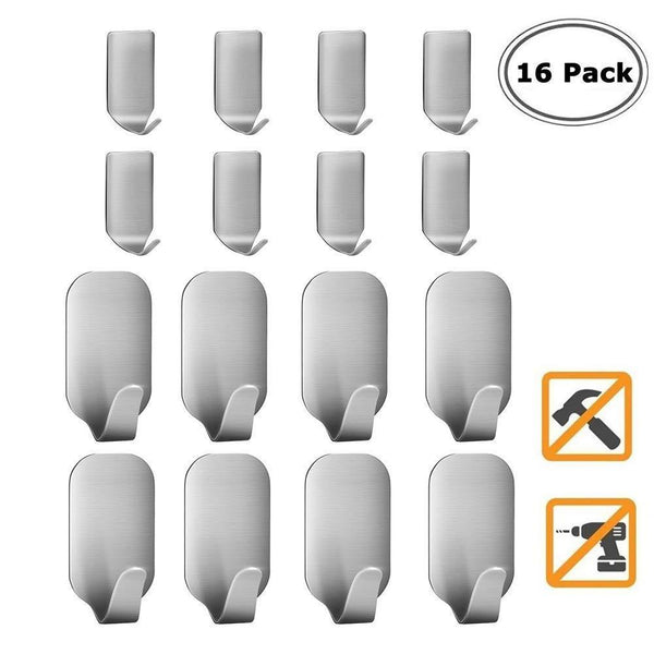 Adhesive Hooks, Heavy Duty Wall Hooks, Stainless Steel Waterproof Hanger for Kitchen, Bathroom, Bags, Towel, Coat, Keys, Robe, Home, Offices(8 Small + 8 Big)