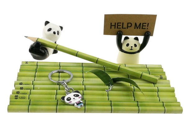 Home cute black and white panda theme stationery set include 12 hb bamboo pencils 1 pencil holder 1 memo holder organizer 1 ceramic panda toy 1 keychain for kids school study gift