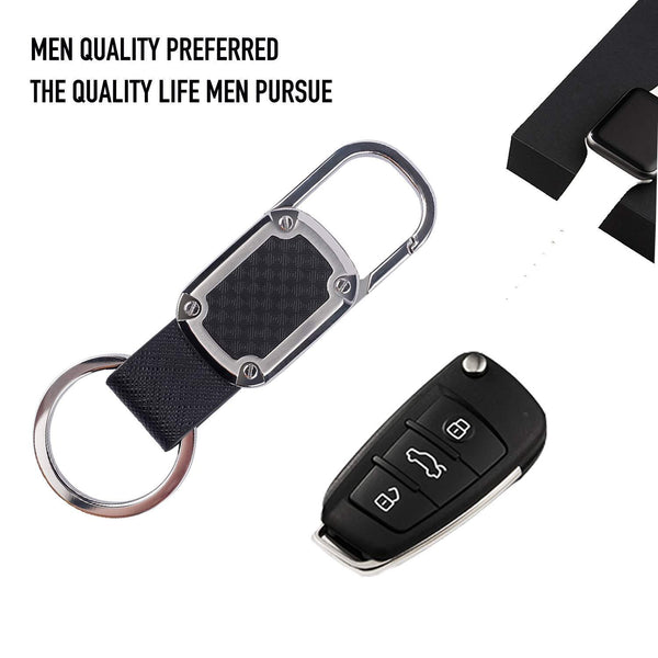 Top car key chain detachable carabiner key chain rings stainless steel heavy duty leather key holder organizer home car keychain clip hook best gift for business men and women with 4 extra key rings