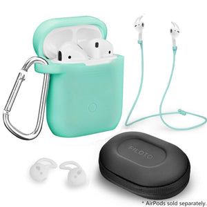 Heavy duty airpods accessories set filoto airpods waterproof silicone case cover with keychain strap earhooks accessories storage travel box for apple airpod mint green
