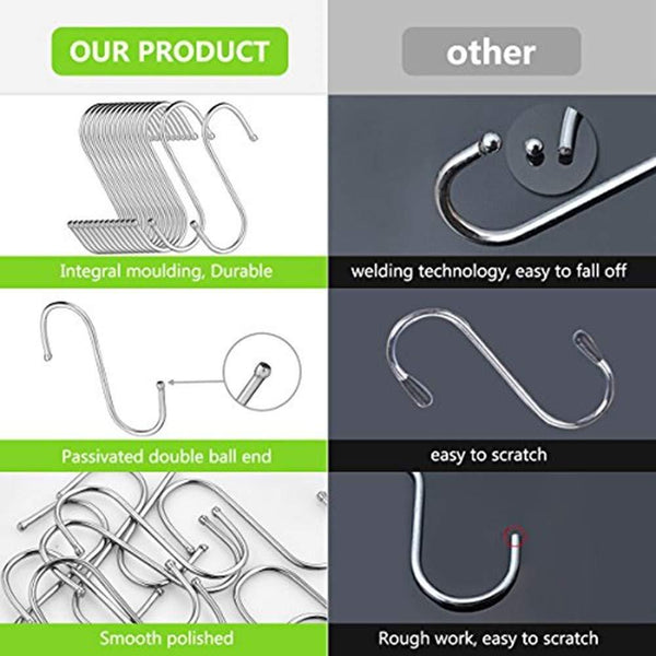 "24 Pack S Shaped Hanging Hooks Hanger Hooks 3.5"" Hanging Plant Pan Cup Metal S Hooks Hanger Heavy Duty Stainless Steel S Hooks for Kitchen Bathroom Bedroom and Office Hanging Utensils Towels"
