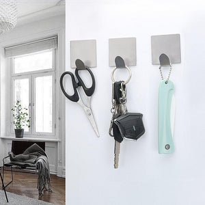 FOTYRIG Adhesive Hooks Wall Hooks Hangers Waterproof Stainless Steel Stick on Hooks for Hanging Robe Towel Coat Kitchen Utensils Keys Bags-Home Kitchen Bathroom-8 Packs