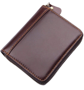 Results mens rfid blocking full grain leather secure credit card holder zip around wallet come with free keychain and gift box chocolate b1w008ch