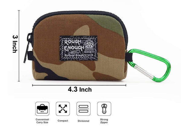 Buy rough enough small mini minimalist mens wallet credit card holder coin purse change zipper pouch cash bag organizer earbuds case with keychain ring for business women boys girls travel school party