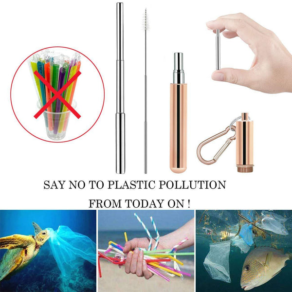 Products senneny telescopic reusable drinking straws stainless steel metal straws premium food grade folding drinking straws keychain portable set with aluminum case cleaning brush rose gold black