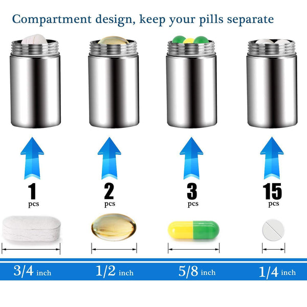 Heavy duty ppfish portable daily pill case 3 compartments stainless steel waterproof pill box dispenser small pocket pill container keychain pill fob travel pill holder for men women medium