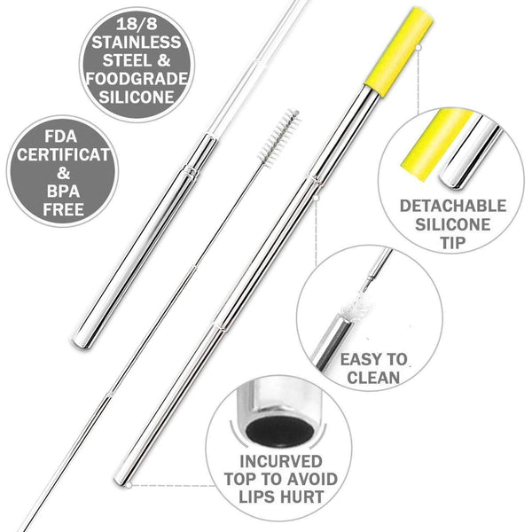 Amazon best 2 pack longzon collapsible stainless steel metal straws with case reusable portable foldable telescopic metal drinking straws with 2 aluminum keychain 2 cleaning brushes for travel home