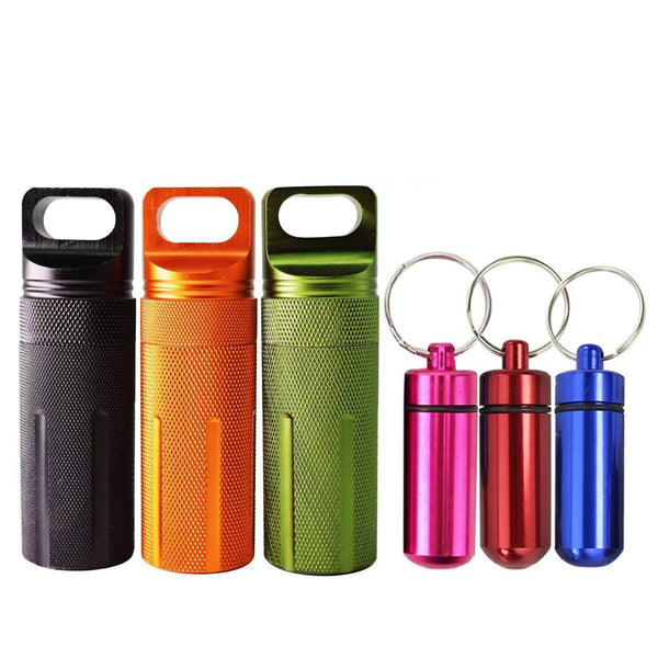 Great 6pcs waterproof aluminum pill box case bottle cache drug holder keychain container colorful outdoor camping travel traveling portable pill capsule match case 3mini size 3large size random colors