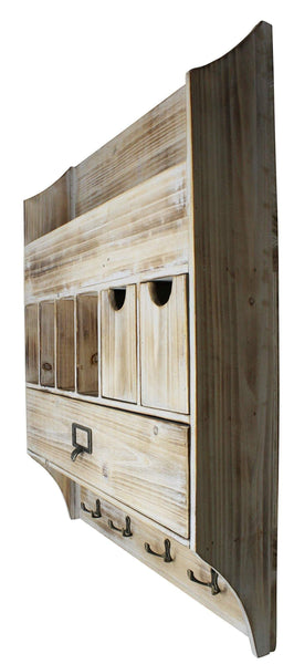 Home extra large vintage rustic country torched wood wall mountable entryway organizer accessory sorter with mail slots coat rack keychain hanger for hallway or mud room barnwood white washed