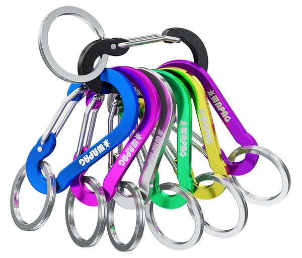 Discover the wapag carabiner clip 2inch aluminum flat gourd shape mini spring hook keychain keyring for keys small items daily life hammocks camping hiking running accessories 21color
