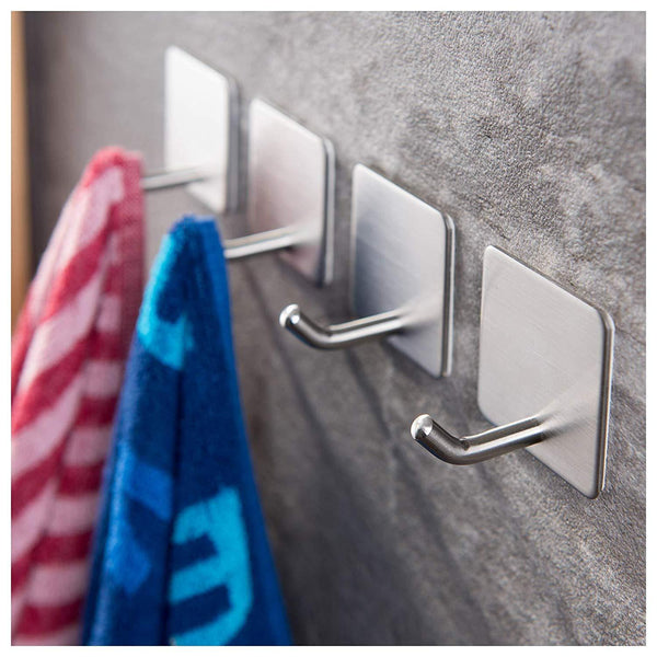 Sticky-Hooks Stainless Steel Adhesive Hooks. Hang Your Robe, Umbrella, Sports Equipment, Dog leashes, Necklaces, Belts, Handbags, Aprons, Oven Mitts, Coats and Wreaths on The Door!