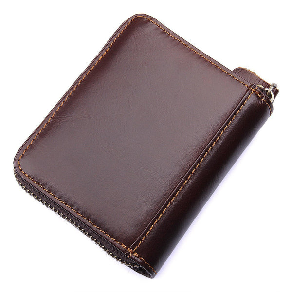 Save mens rfid blocking full grain leather secure credit card holder zip around wallet come with free keychain and gift box chocolate b1w008ch