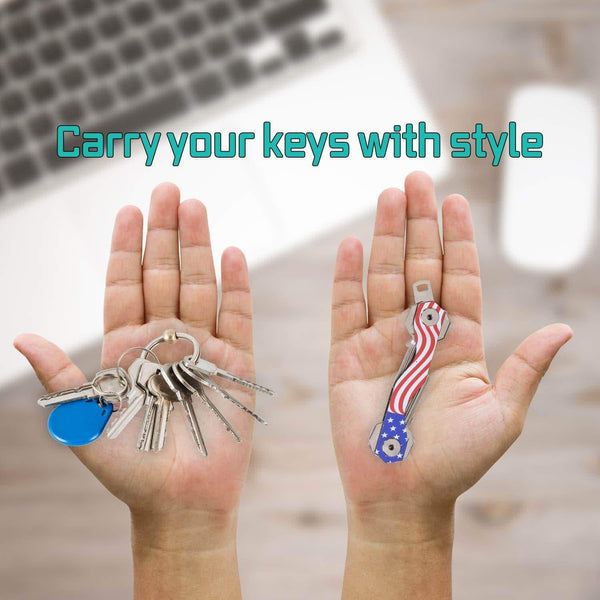 Buy now smart compact key holder keychain made of carbon fiber stainless steel pocket organizer up to 18 keys lightweight strong key gadget includes sim bottle opener carabiner more usa flag