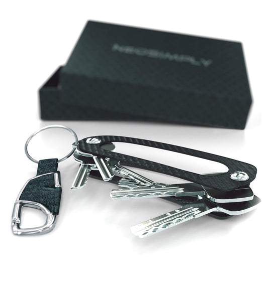 Exclusive neosimply the ultimate keychain smart compact keyring holder key holder organizer best minimalist gadget tool perfect for anyone with keys carbon fiber leather keychain for car key