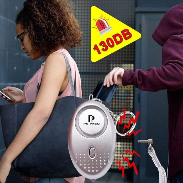 Top sinotech 130db personal alarm 4 pack safety security emergency device personal alarm keychain for elderly women kids night workers 2pack silver