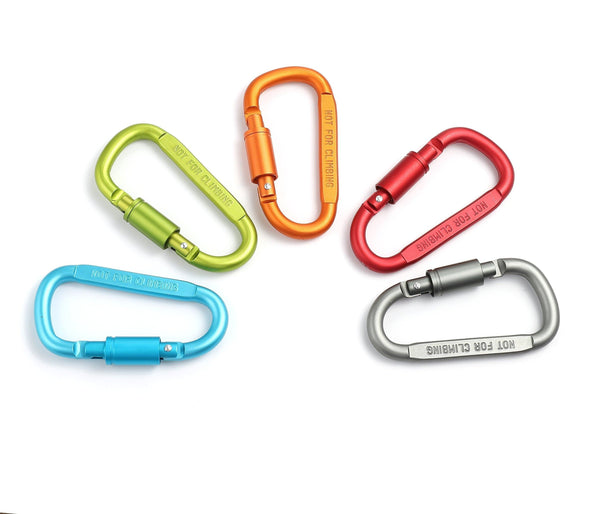 Budget friendly drayas aluminum carabiner d shape buckle pack keychain clip spring snap key chain clip hook screw gate buckle 10pcs multicolor 10pcs