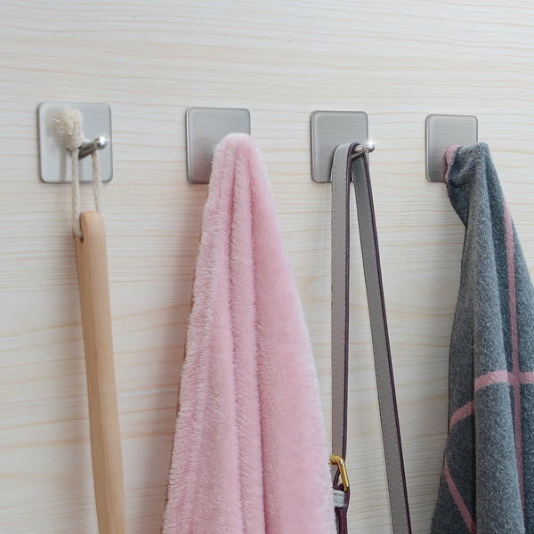 Adhesive Hooks,Stainless Steel Wall Hooks Hanger, 4 Key Hooks and 2 Plug Holder Hook|Double Hooks for Hanging Kitchen Bathroom Office