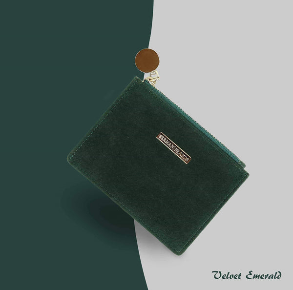 Discover the serman brands slim wristlet card case holder small rfid blocking wallet change purse for women keychain removable wristlet strap velvet emerald ch