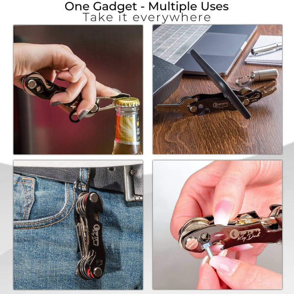 Related compact key holder and keychain organizer smart pocket key organizer up to 22 keys premium multitool gadget with stainless steel bottle opener and carabiner money clip bonus included black