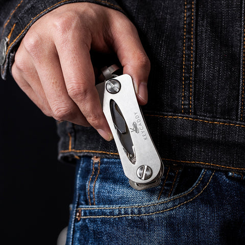 Key Caddy - Stainless Steel Compact Smart Key Organizer -Keychain Up To 16 Keys plus Anti Loosening Technology - Lightweight & Durable