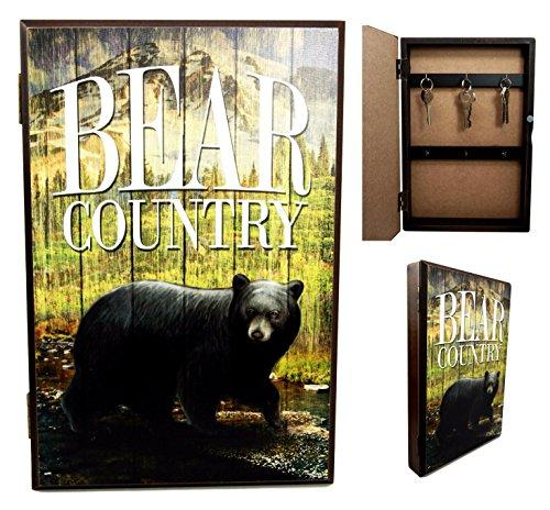 Ebros Gift Black Bear Country Secret Safe Book Shaped Multiple Keys Decorative Storage Organizer